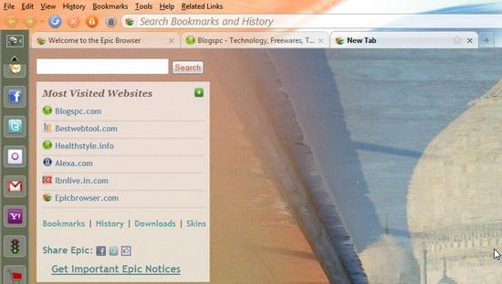 Epic Web Browser HomePage