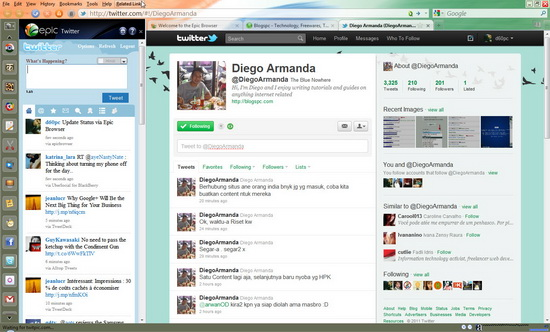 Epic Web Browser - Update Twitter Status