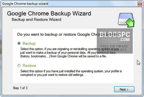 Backup and Restore Google Chrome
