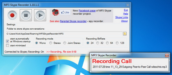 MP3 Skype Recorder WIndows 7