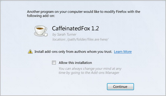 Firefox 8 third party software installation