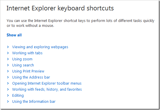 Complete List of Internet Explorers Keyboard Shortcut