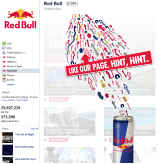 Red Bull Facebook fanpage