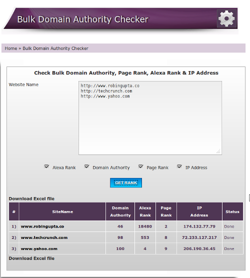 13 - Bulk Domain Authority Checker