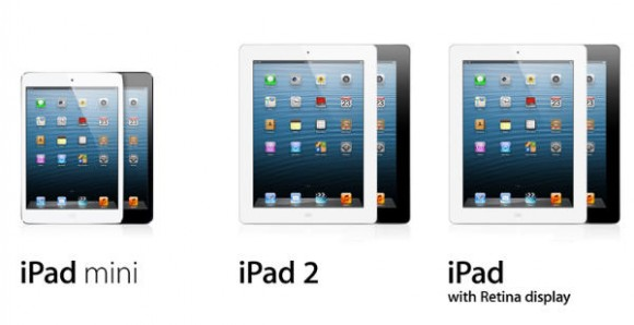 "Apple iPad 2 vs iPad Mini vs iPad 4 (with ""retina"" display)"